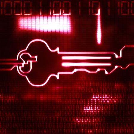 abstract key and binary code modern illustration Stock Photo