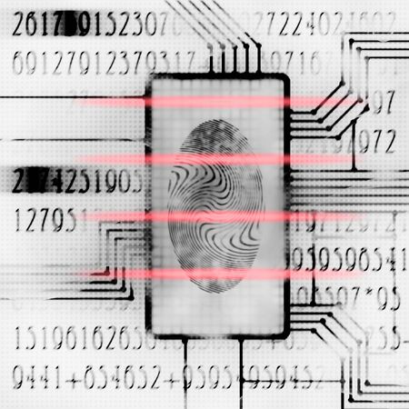 finger print and digital code futuristic illustration Stock Illustration - 9485004