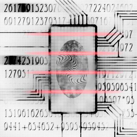 csi: finger print and digital code futuristic illustration
