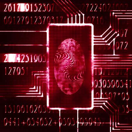 finger print and digital code futuristic illustration