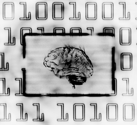 illustration of the binary code and brain on abstract screen illustration