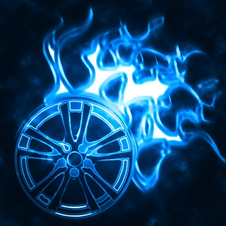 illustration of the alloy burning wheel abstract illustration
