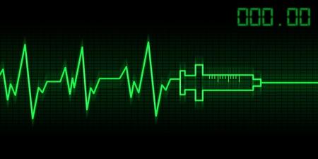 abstract drug addictive heartbeat and syringe illustration illustration