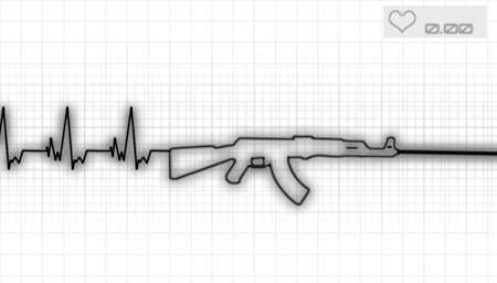killer waves: illustration of the heartbeat and automatic rifle Stock Photo