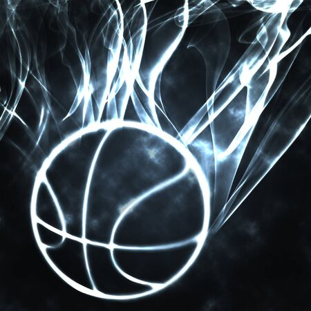 burning basket ball in the smoke illustration