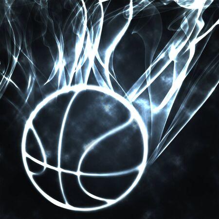 burning basket ball in the smoke illustration