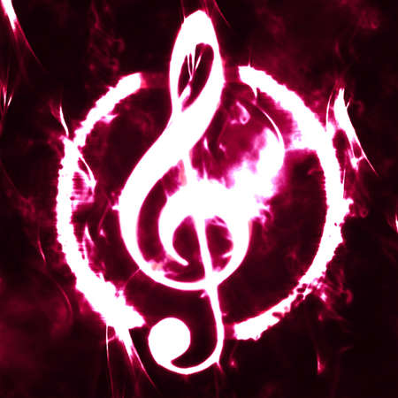 burned g-clef sign white black Stock Photo - 9806094