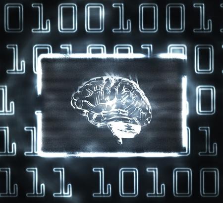 inteligencia: Ilustraci�n del c�digo binario y cerebro en pantalla abstracto