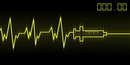 addictive: abstract drug addictive heartbeat and syringe illustration