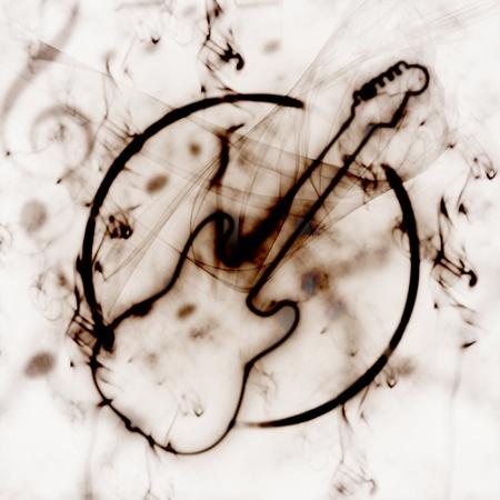 burning: grunge illustration of guitar sign in the smoke