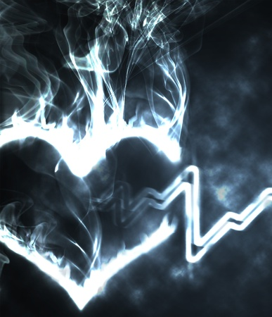 heart heat: abstract burning heart in the smoke and hearthbeat Stock Photo
