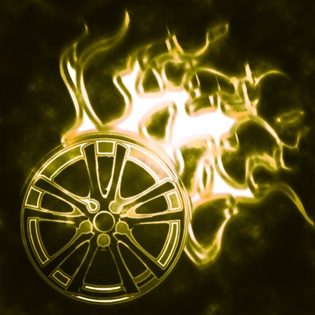 alloy wheel: illustration of the alloy burning wheel abstract