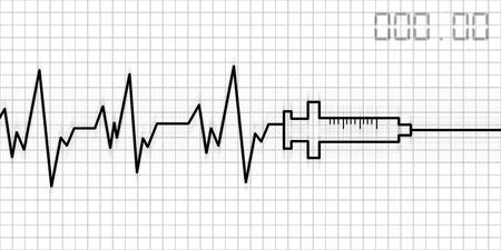 cardiogram: abstract drug addictive heartbeat and syringe illustration