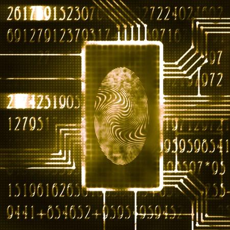 finger print and digital code futuristic illustration Stock Illustration - 10059658