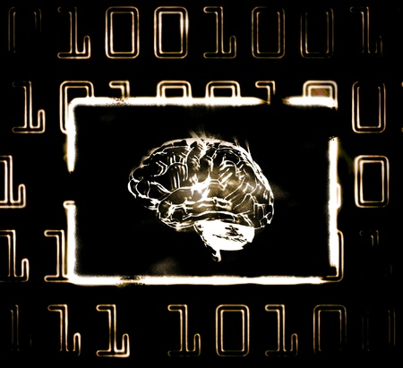 zeros: illustration of the binary code and brain on abstract screen