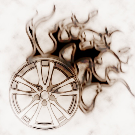 illustration of the alloy burning wheel abstract illustration