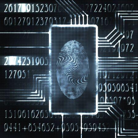 odcisk kciuka: linii papilarnych i kod cyfrowy futurystyczny ilustracja