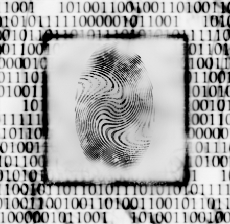 security search: abstract illustration of the finger print and binary code Stock Photo