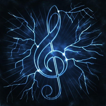 g clef: lightning and musical sign the abstract blue white illustration