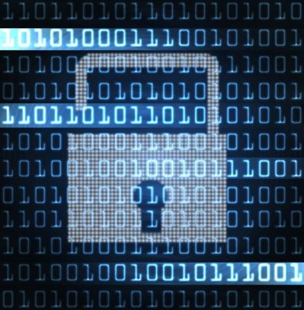 lock  futuristic: serratura di sicurezza e codice binario illustrazione moderna futuristica Archivio Fotografico