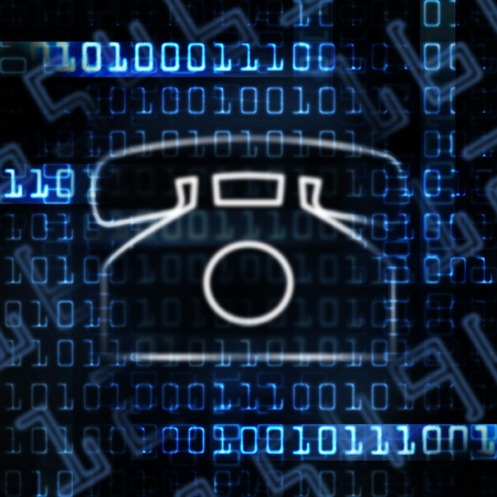ip phone and binary code abstract illustration illustration