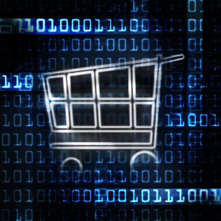 e shop: online shopping cart and binary code illustration
