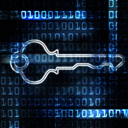security key and binary code abstract illustration