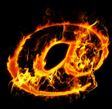 burning letter: burning internet mail sign abstract fire illustration Stock Photo