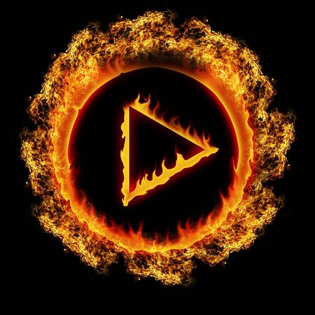 media player: open fire burning play button illustration on black