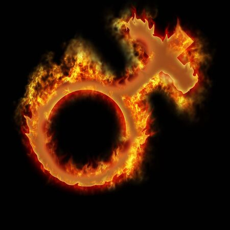 open fire woman burning sign on the black Stock Photo - 11633366