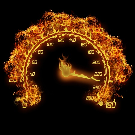rally car: burning speedometer fire flame illustration on the black Stock Photo