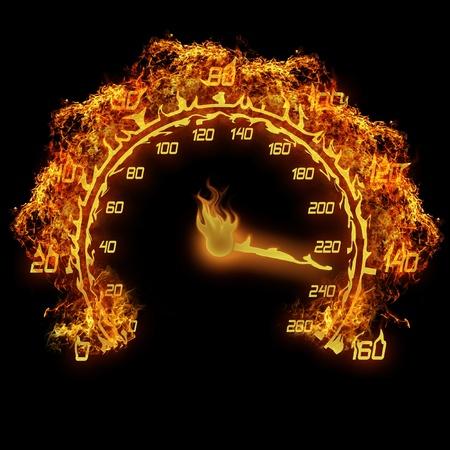 speedometer: fuoco ardente illustrazione tachimetro fiamma sul nero