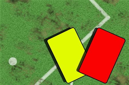 fairplay: part of soccer football field and cards abstract illustration