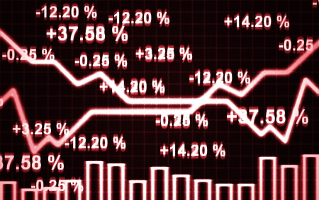 bussines: illustratie van de abstracte markt grafiek en cijfers Stockfoto