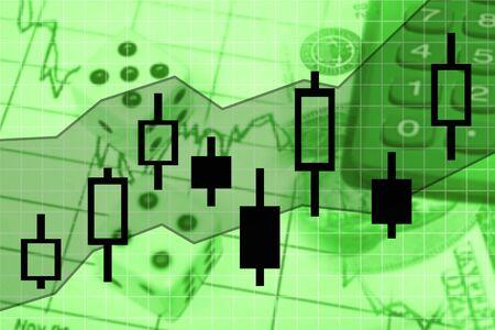 stock market exchange: candle stick stock market exchange chart illustration