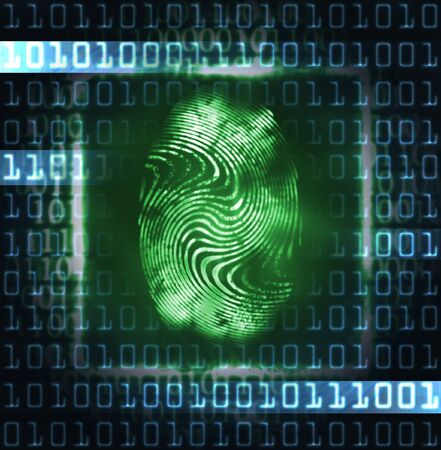 abstract illustration of the finger print and binary code illustration