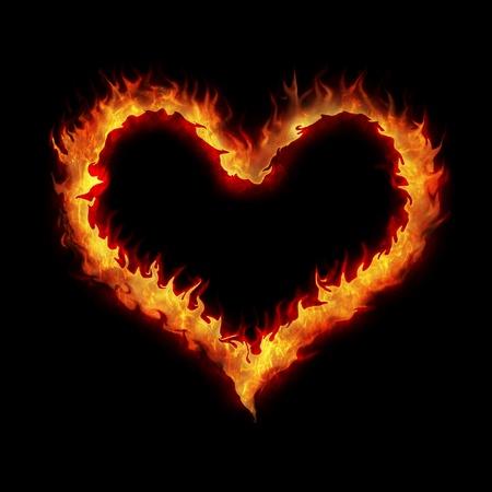 burning heart abstract illustration background on black illustration
