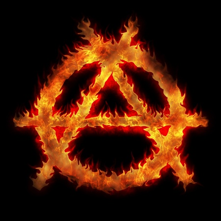 anarchy: burning anarchy sign fire flame abstract illustration Stock Photo