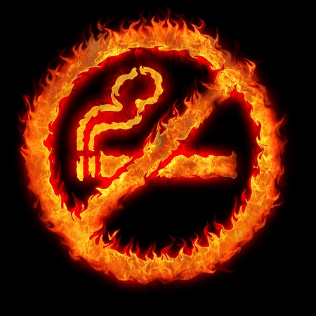burning no smoking sign restriction plate illustration Stock Illustration - 13043727