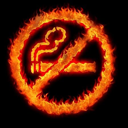 no icon: burning no smoking sign restriction plate illustration
