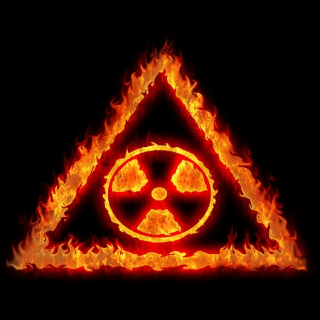 burning nuclear radioactive danger caution sign illustration Stock Illustration - 13043725