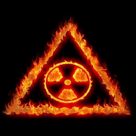 burning nuclear radioactive danger caution sign illustration Stock Illustration - 13043725