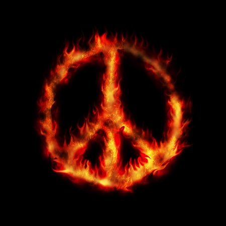 burning hippy antiwar peace sign abstract illustration illustration