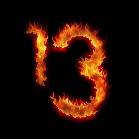 burning thirteen one three digits on black