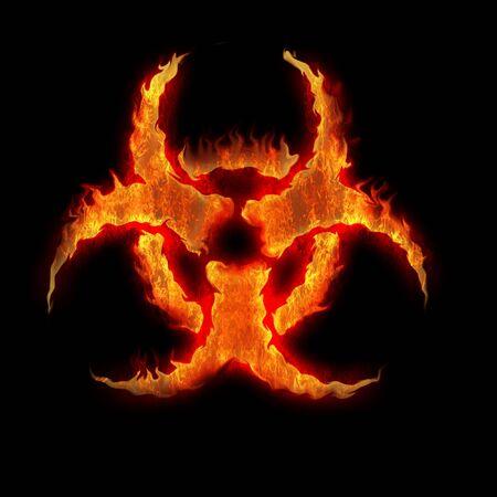 residuos toxicos: símbolo de la quema señal de peligro biológico en el negro Foto de archivo