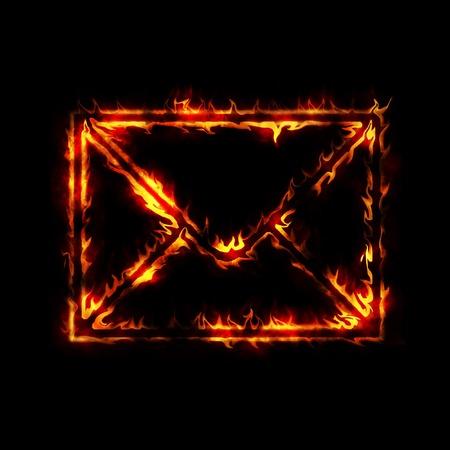 inbox: burning envelope post sign from fire on black