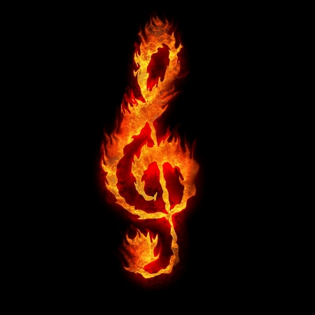 g clef: burning g clef sign fire on black