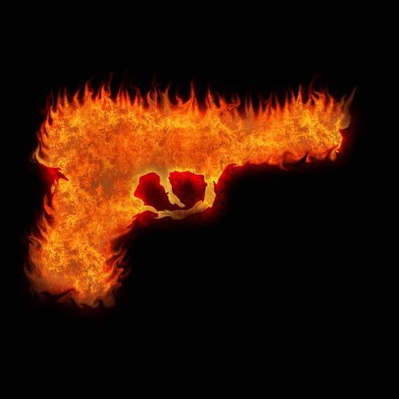 semi automatic: burning gun silhouette fire on black background