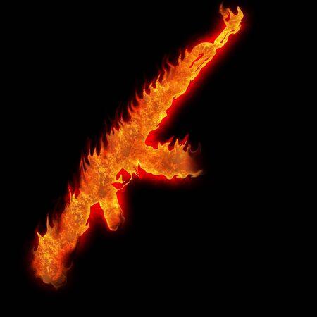 kalashnikov: burning kalashnikov ak47 silhouette fire on black