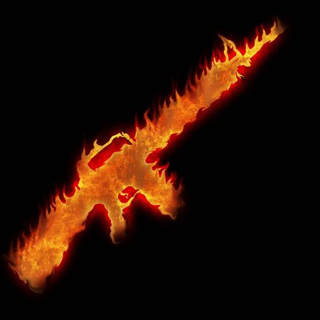 burning m16 rifle fire on black background